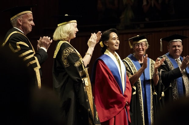 Aung San Suu Kyi after receipt of the degrees