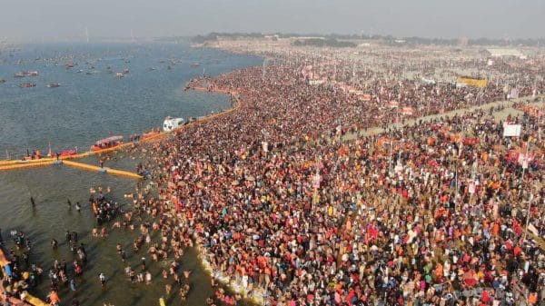 overhead shot of Shahi Snan at Maha Kumbh Mela 2019 at Prayagraj