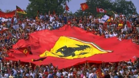 "Ferrari fans, ""tifosi"" celebrate victory at Monza circuit, 2019"